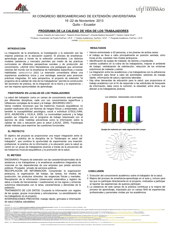 XII CONGRESO IBEROAMERICANO DE EXTENSIÓN UNIVERSITARIA 19 -22 de Noviembre 2013 Quito – Ecuador UNIVERSIDADE FEDERAL DE JUIZ DE FORA PROGRAMA DE LA CALIDAD DE VIDA DE LOS TRABAJADORES Autores: Eduardo de Castro Assis (1), Natasha Riniere Barbosa (2), Amanda Madeira Zancanelli (2), Cledson Cabral Silva (3) (1) Profesor, Coordinador de Projeto.FacFisio / UFJF - (2) Grados Académicos.