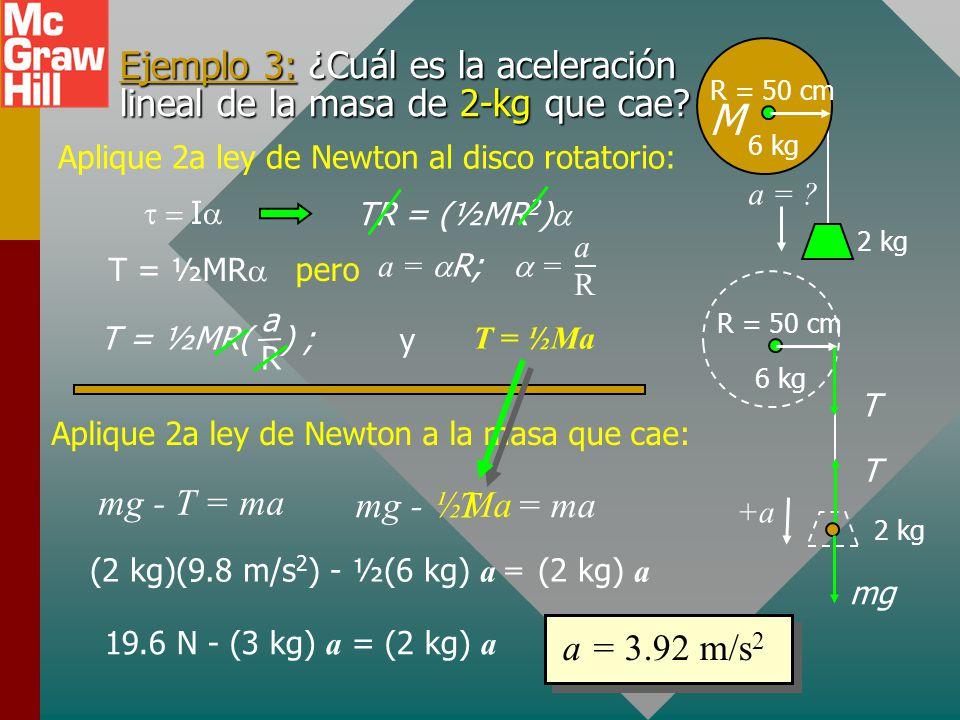Segunda ley de rotación de Newton R 4 kg F 50 rad/s R = 0.20 m F = 40 N = I ¿Cuántas revoluciones requiere para detenerse? FR = (½mR 2 ) = 100 rad/s 2