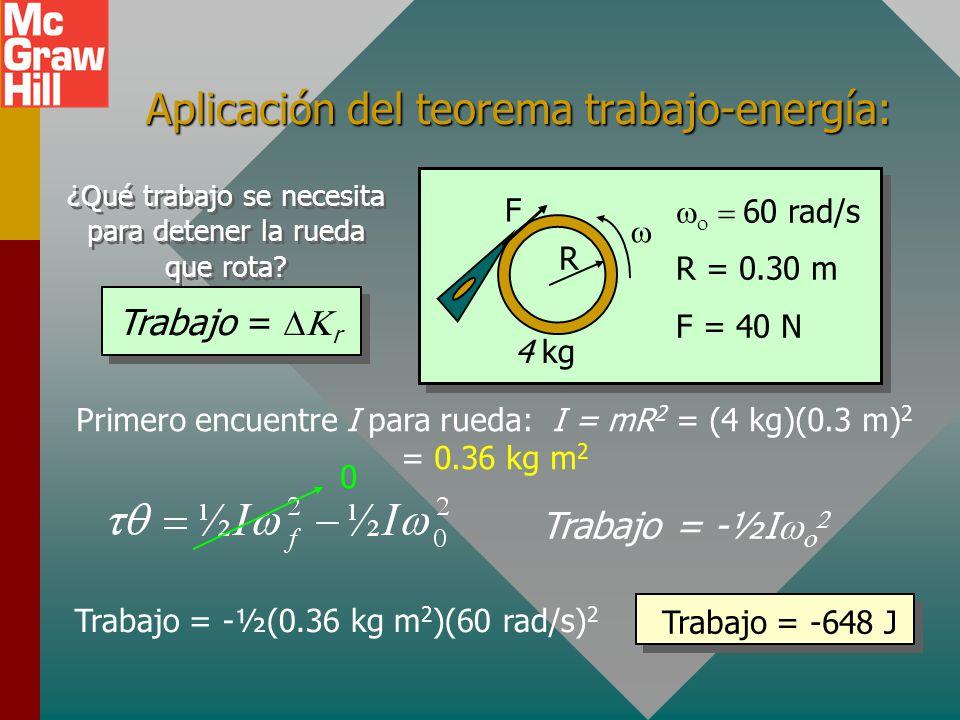 El teorema trabajo-energía Recuerde para movimiento lineal que el trabajo realizado es igual al cambio en energía cinética lineal: Al usar analogías a