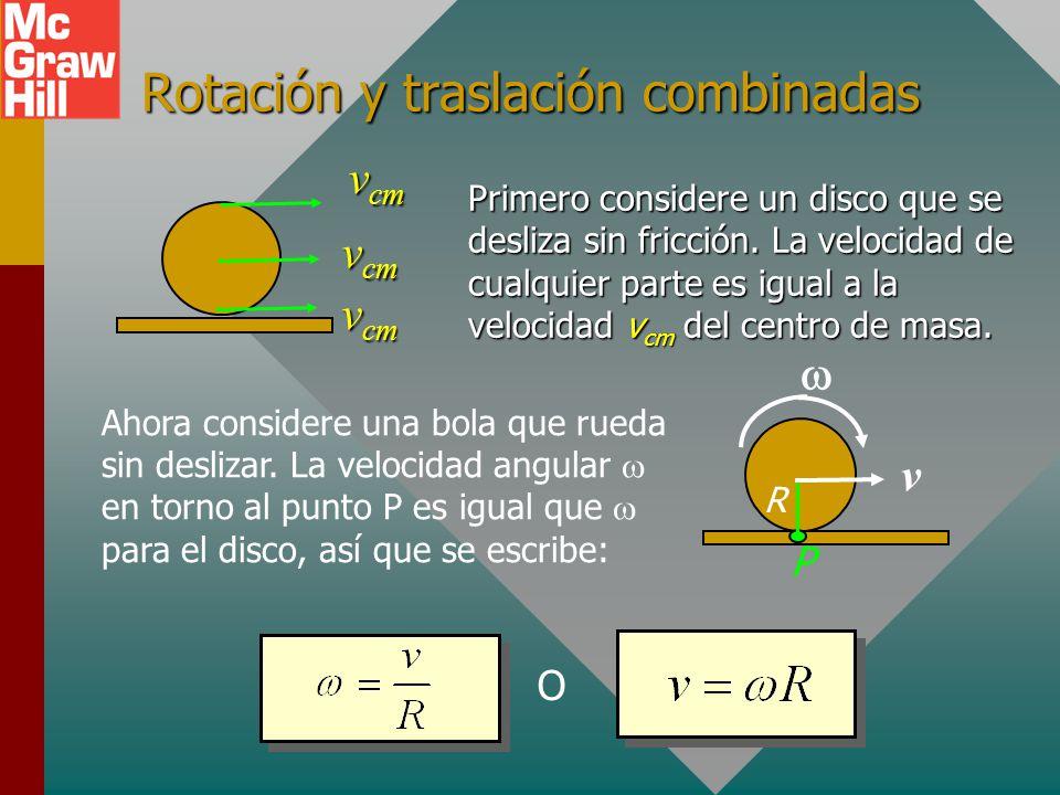 Aplicación del teorema trabajo-energía: Trabajo = r ¿Qué trabajo se necesita para detener la rueda que rota? R 4 kg F 60 rad/s R = 0.30 m F = 40 N Pri