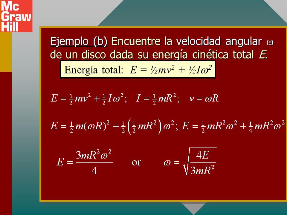 Ejemplo (a): Encuentre la velocidad v de un disco dada su energía cinética total E. Energía total: E = ½mv 2 + ½I