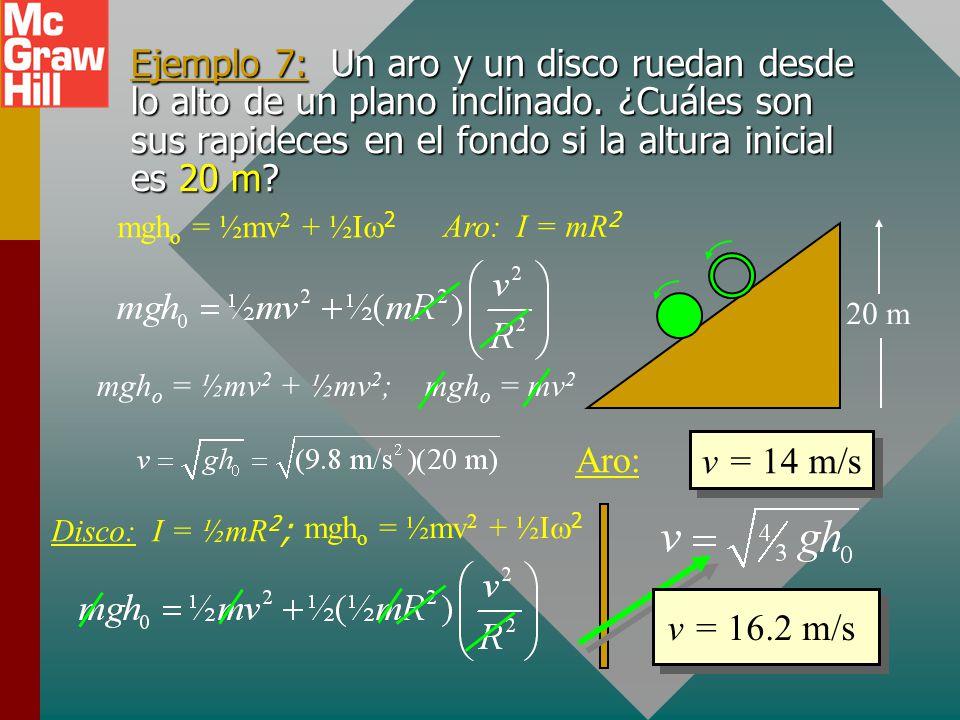 Ejemplo 6: Encuentre la velocidad de la masa de 2 kg justo antes de golpear el suelo. h = 10 m 6 kg 2 kg R = 50 cm mgh o ½ ½ ½mv o 2 = mgh f ½ f ½ f ½