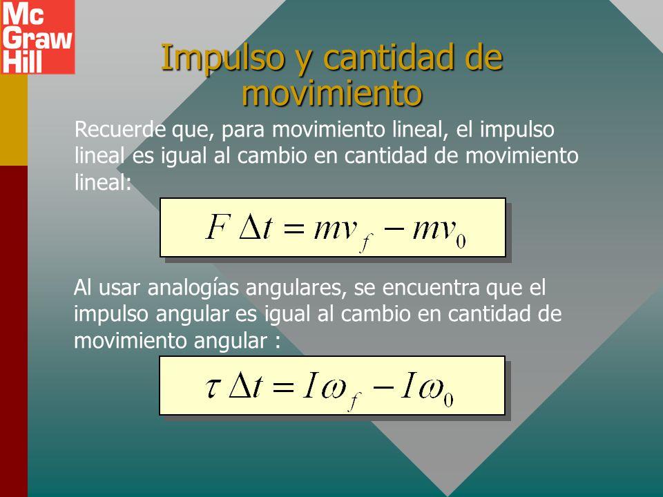 Ejemplo 8: Encuentre la cantidad de movimiento angular de una barra delgada de 4 kg y 2 m de longitud si rota en torno a su punto medio con una rapide