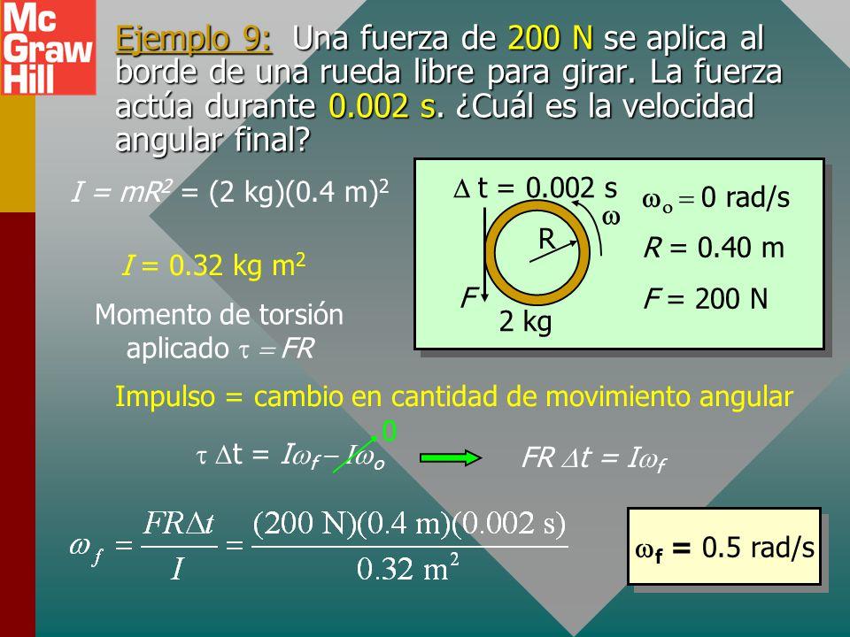 Impulso y cantidad de movimiento Recuerde que, para movimiento lineal, el impulso lineal es igual al cambio en cantidad de movimiento lineal: Al usar