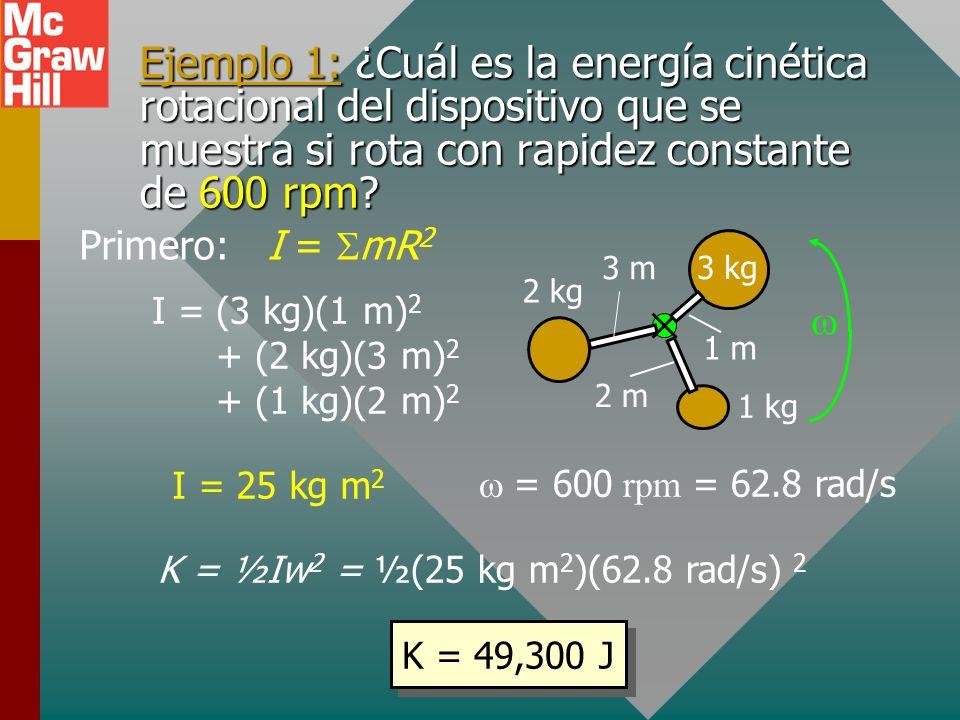 Energía cinética rotacional m2m2 m3m3 m4m4 m m1m1 eje v = R Objeto que rota a constante Considere masa pequeña m: K = ½ mv 2 K = ½m( R) 2 K = ½(mR 2 )