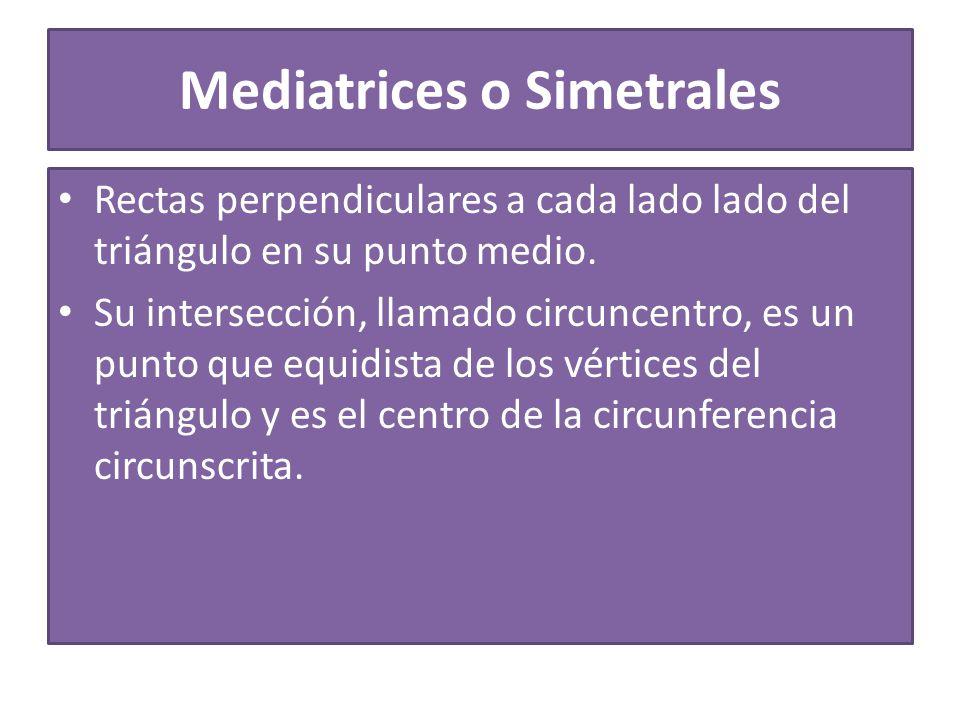 Mediatrices o Simetrales Rectas perpendiculares a cada lado lado del triángulo en su punto medio.