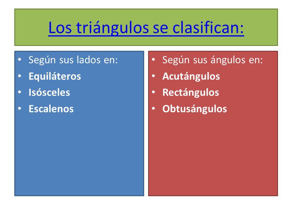 Los triángulos se clasifican: Según sus lados en: Equiláteros Isósceles Escalenos Según sus ángulos en: Acutángulos Rectángulos Obtusángulos