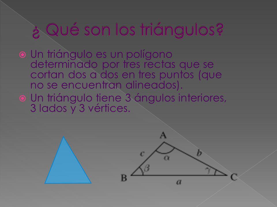  Un triángulo es un polígono determinado por tres rectas que se cortan dos a dos en tres puntos (que no se encuentran alineados).