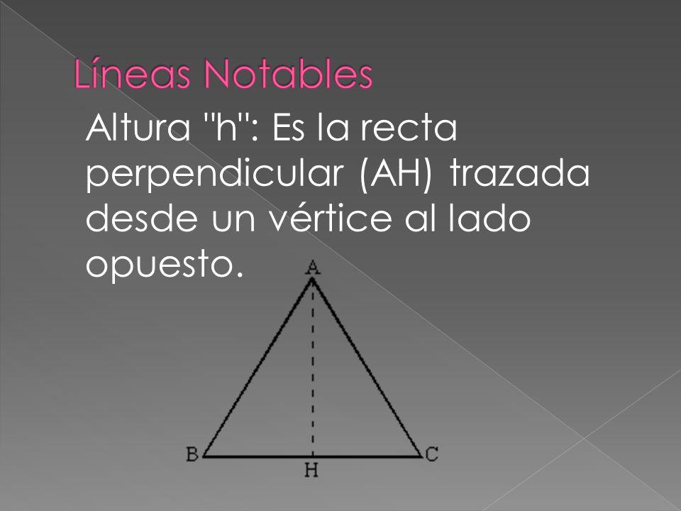 Altura h : Es la recta perpendicular (AH) trazada desde un vértice al lado opuesto.