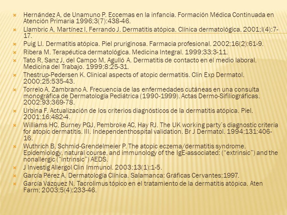  Hernández A, de Unamuno P.Eccemas en la infancia.
