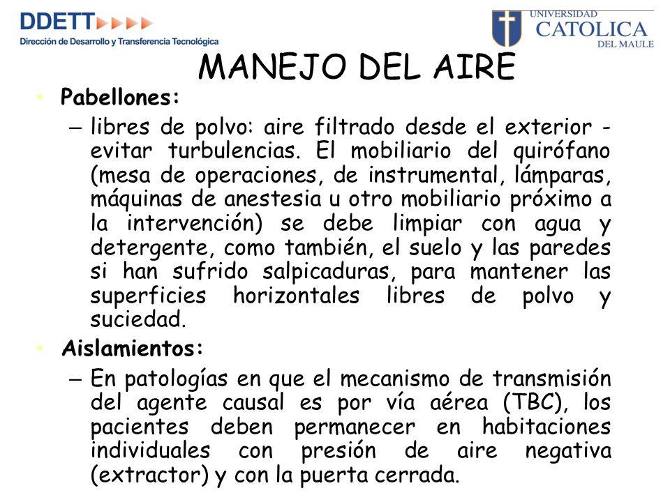 MANEJO DEL AIRE Pabellones: – libres de polvo: aire filtrado desde el exterior - evitar turbulencias.
