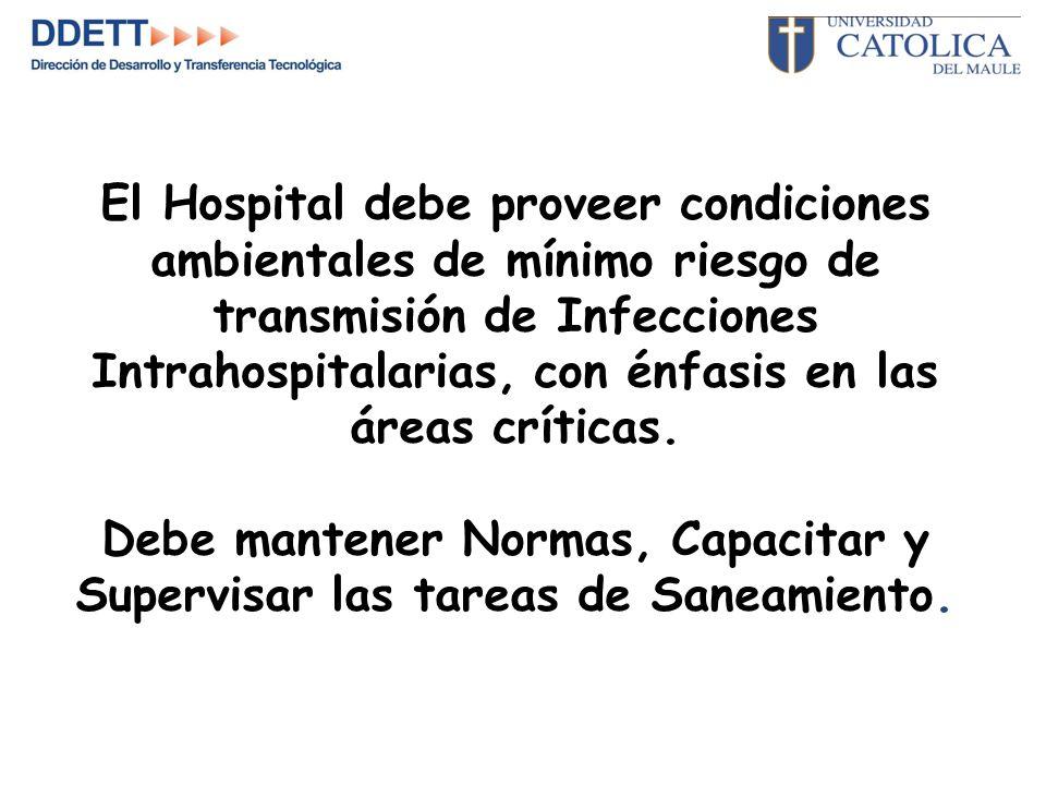 El Hospital debe proveer condiciones ambientales de mínimo riesgo de transmisión de Infecciones Intrahospitalarias, con énfasis en las áreas críticas.