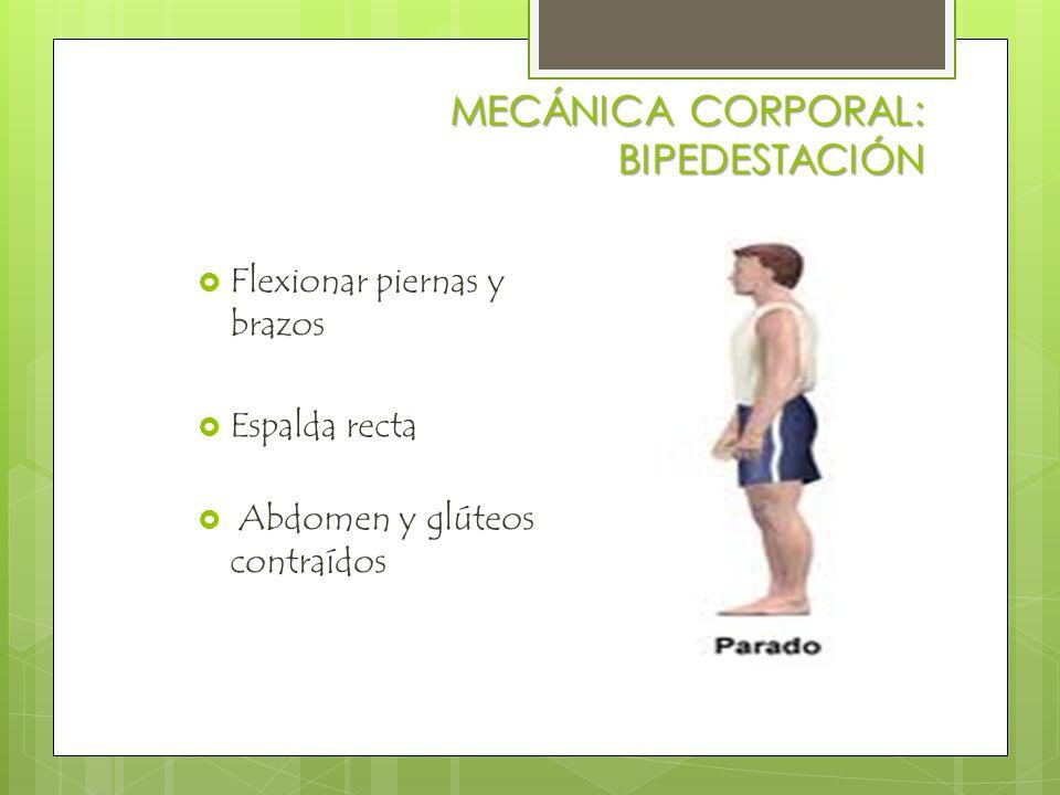 MECÁNICA CORPORAL: AL LEVANTAR PESOS  Colocar centro de gravedad, a nivel de las rodillas ->-> cuclillas  Poner el peso hacia el cuerpo, en centro de gravedad.