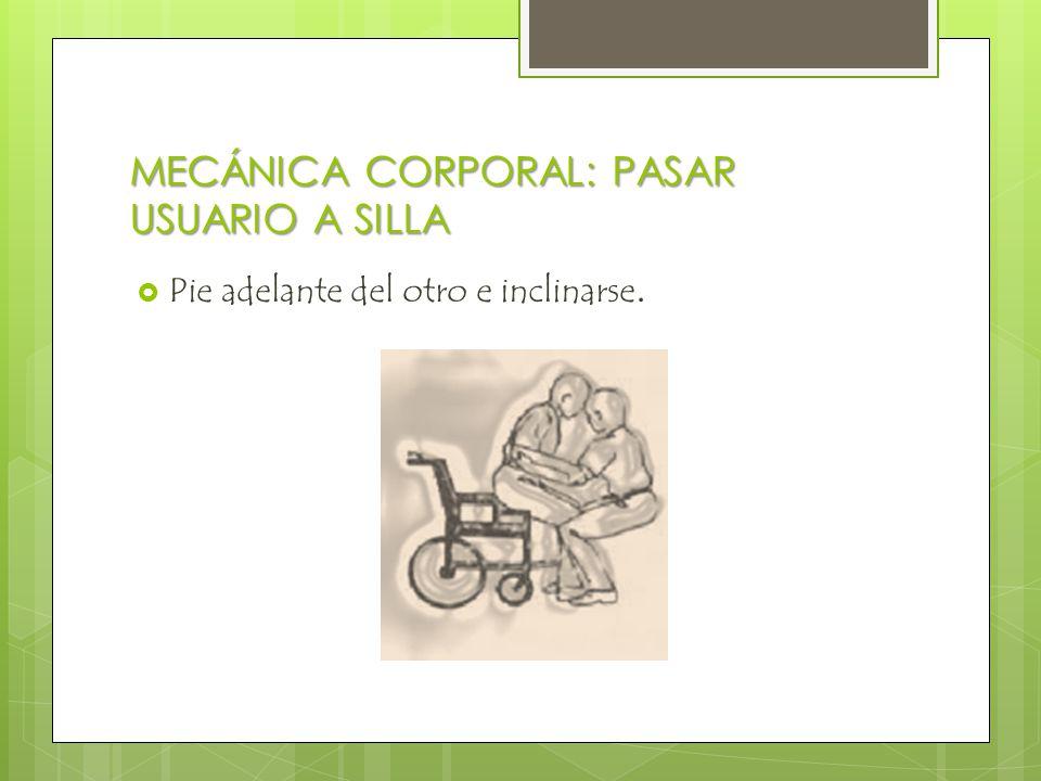 MECÁNICA CORPORAL: PASAR USUARIO A SILLA  Pie adelante del otro e inclinarse.