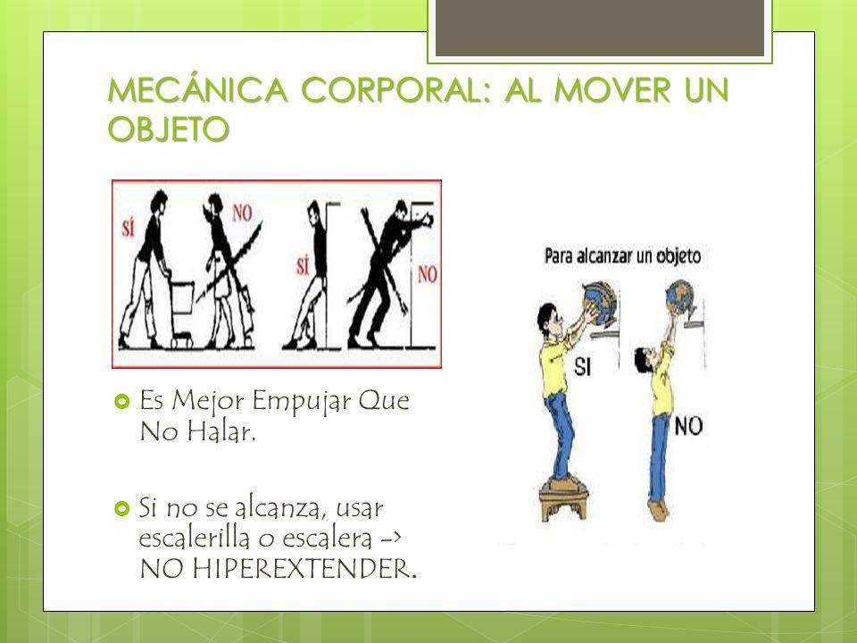 MECÁNICA CORPORAL:AL SENTARSE  Abdomen contraído -> Evita dolor de espalda  Apoyo de espalda y brazos  Espalda recta  Un pie delante de otro ->-> escalón  No cruzar las piernas pues disminuye circulación