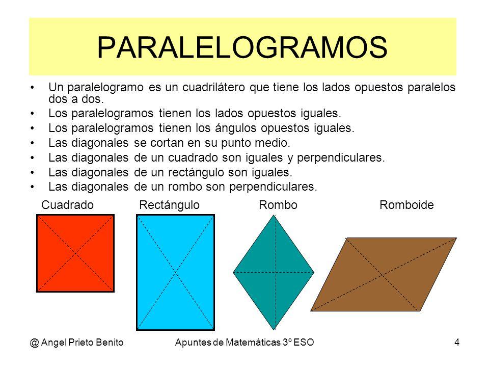 @ Angel Prieto BenitoApuntes de Matemáticas 3º ESO5 CUADRADO Perímetro: Suma de sus lados P = l+l+l+l = 4.l Diagonal: Recta que une dos vértices opuestos.