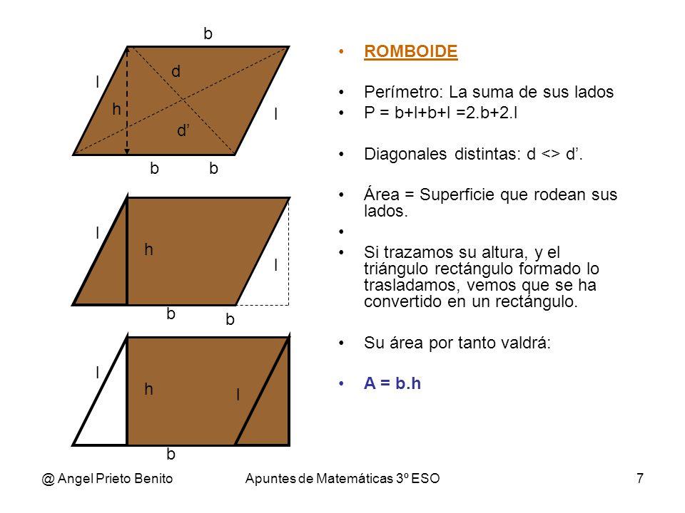 @ Angel Prieto BenitoApuntes de Matemáticas 3º ESO8 ROMBO Perímetro: Suma de sus lados.