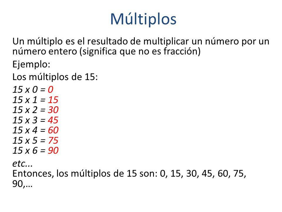 Múltiplos Un múltiplo es el resultado de multiplicar un número por un número entero (significa que no es fracción) Ejemplo: Los múltiplos de 15: 15 x 0 = 0 15 x 1 = 15 15 x 2 = 30 15 x 3 = 45 15 x 4 = 60 15 x 5 = 75 15 x 6 = 90 etc...