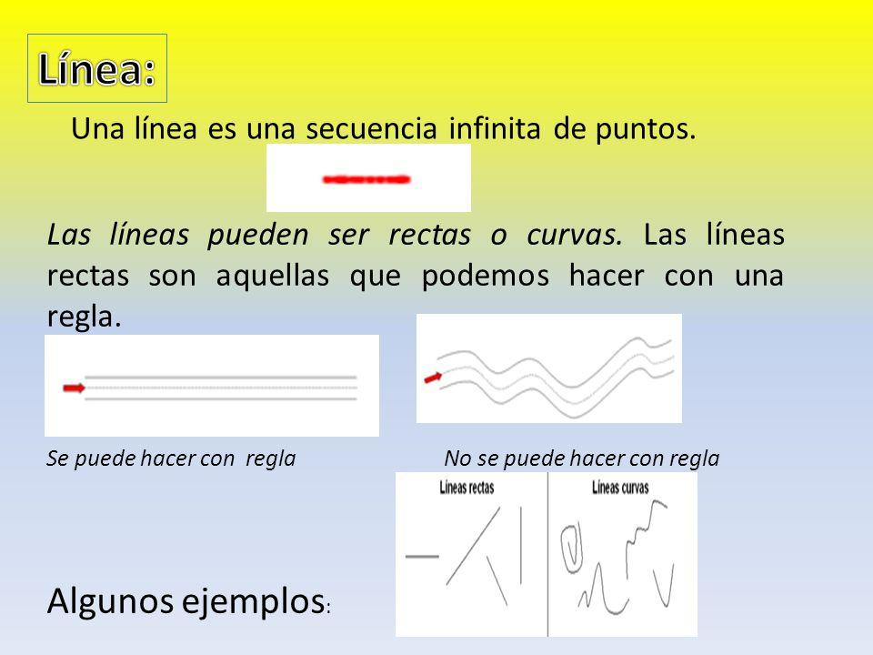 Una línea es una secuencia infinita de puntos.Las líneas pueden ser rectas o curvas.