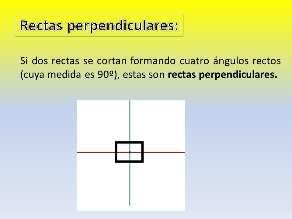 Si dos rectas se cortan formando cuatro ángulos rectos (cuya medida es 90º), estas son rectas perpendiculares.