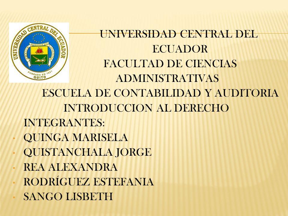 UNIVERSIDAD CENTRAL DEL ECUADOR FACULTAD DE CIENCIAS ADMINISTRATIVAS ESCUELA DE CONTABILIDAD Y AUDITORIA INTRODUCCION AL DERECHO INTEGRANTES: QUINGA MARISELA QUISTANCHALA JORGE REA ALEXANDRA RODRÍGUEZ ESTEFANIA SANGO LISBETH