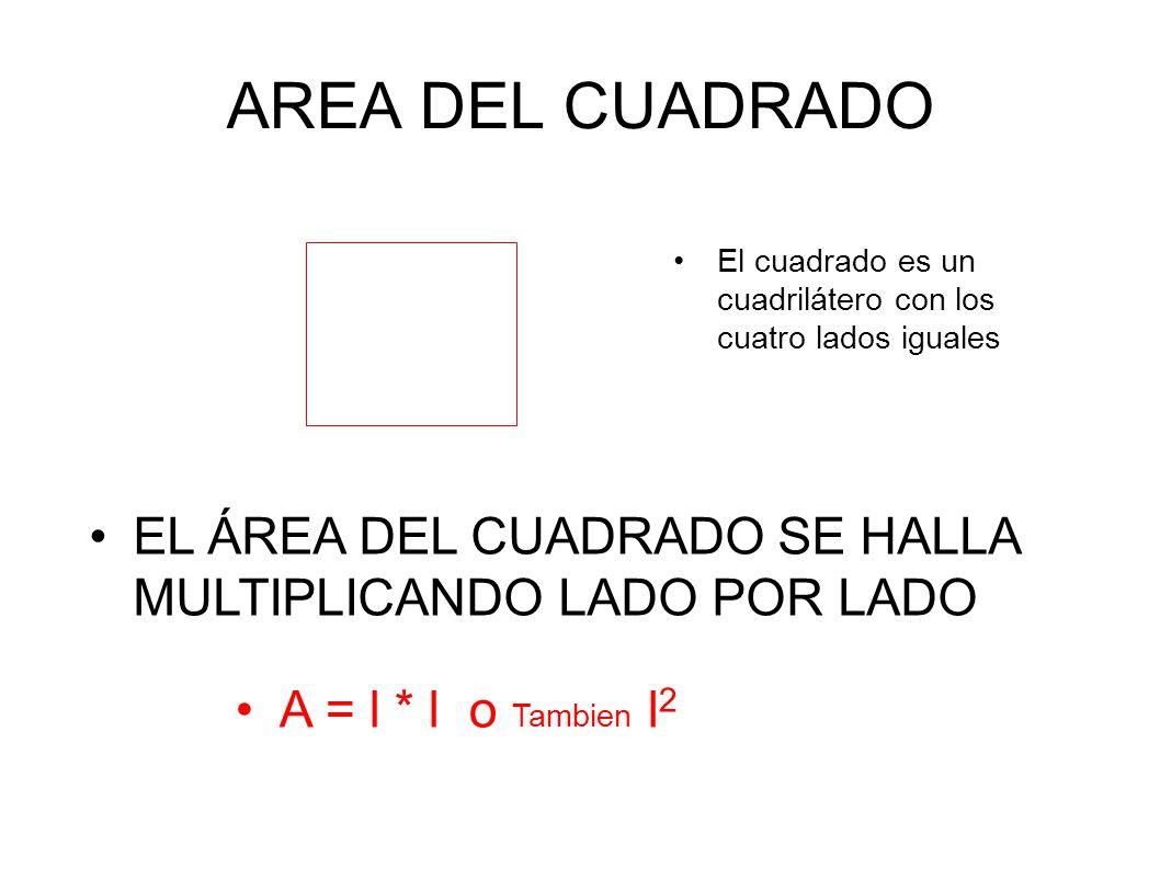 AREA DEL CUADRADO El cuadrado es un cuadrilátero con los cuatro lados iguales EL ÁREA DEL CUADRADO SE HALLA MULTIPLICANDO LADO POR LADO A = l * l o Ta