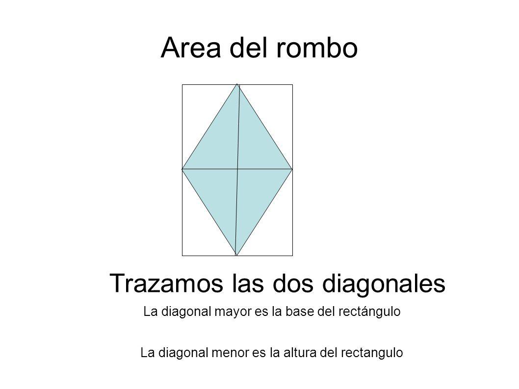 Area del rombo Trazamos las dos diagonales La diagonal mayor es la base del rectángulo La diagonal menor es la altura del rectangulo