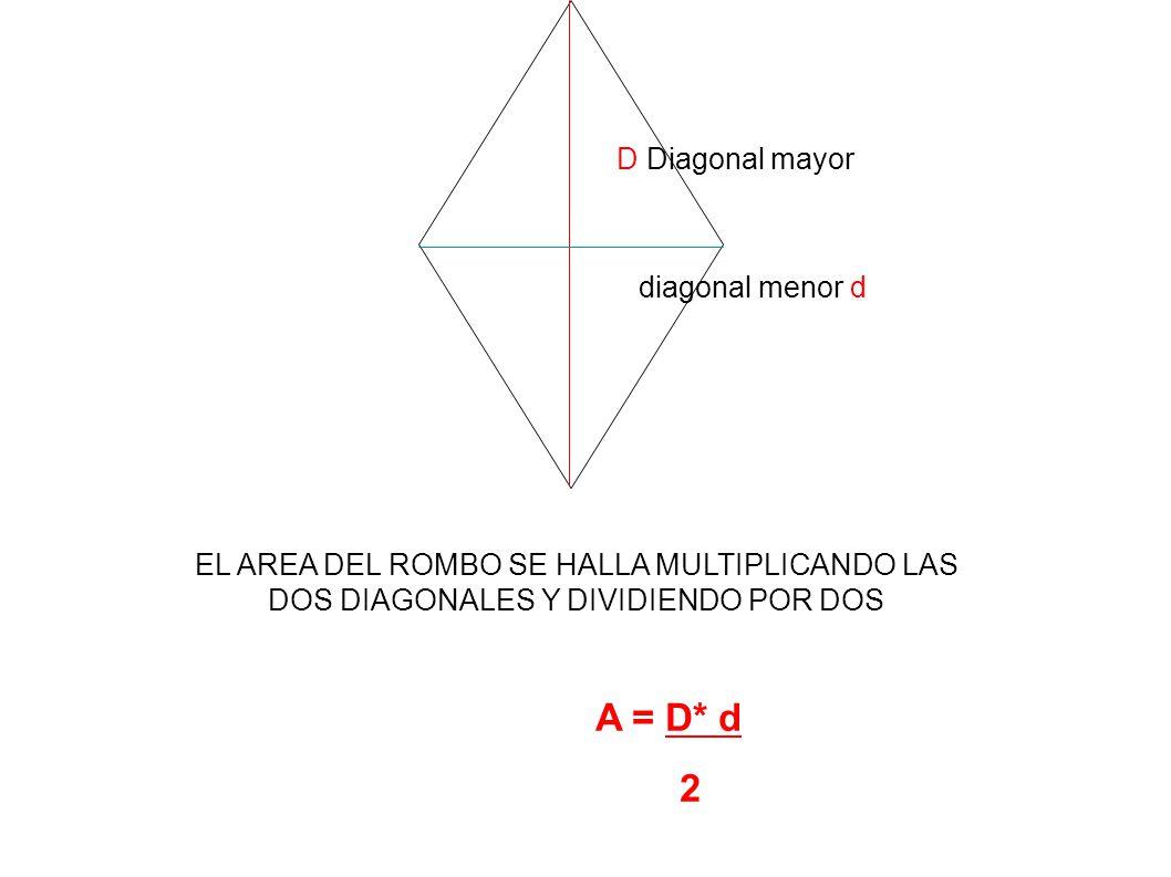D Diagonal mayor diagonal menor d EL AREA DEL ROMBO SE HALLA MULTIPLICANDO LAS DOS DIAGONALES Y DIVIDIENDO POR DOS A = D* d 2