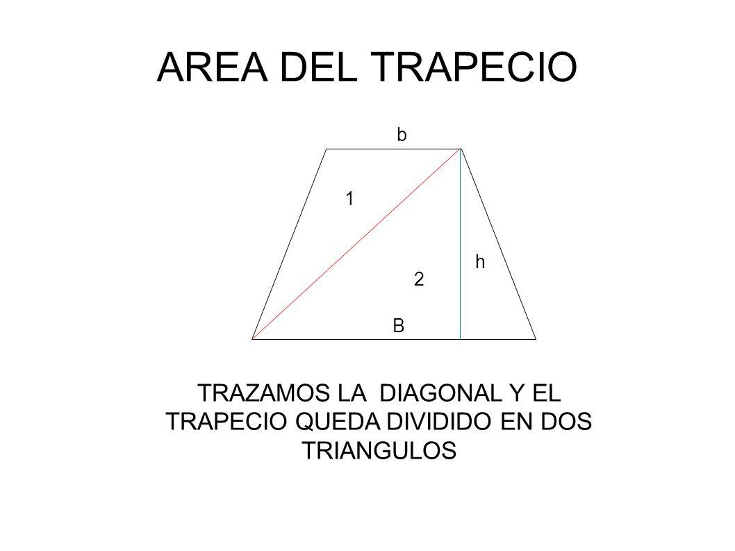 AREA DEL TRAPECIO TRAZAMOS LA DIAGONAL Y EL TRAPECIO QUEDA DIVIDIDO EN DOS TRIANGULOS 1 2 b B h
