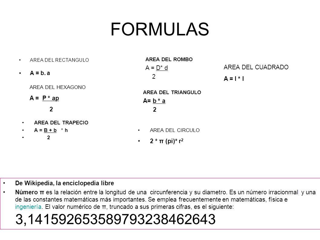 FORMULAS AREA DEL RECTANGULO A = b. a AREA DEL HEXAGONO A = P * ap 2 AREA DEL TRAPECIO A = B + b * h 2 AREA DEL ROMBO A = D* d 2 AREA DEL TRIANGULO A=