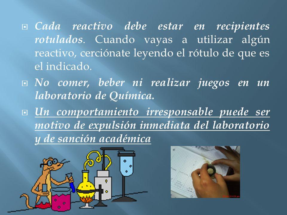  Al desechar los reactivos utilizados, échalos en la caneca si son sólidos; si son líquidos, bótalos en el vertedero, manteniendo abierta la llave del agua.