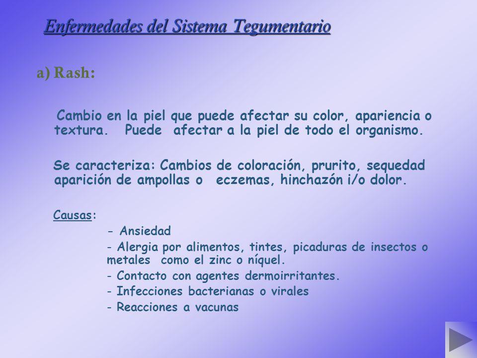Enfermedades del Sistema Tegumentario a) Rash: Cambio en la piel que puede afectar su color, apariencia o textura.