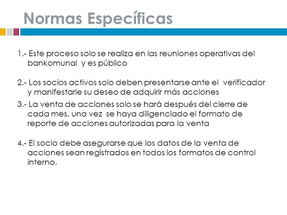 Normas Específicas 1.- Este proceso solo se realiza en las reuniones operativas del bankomunal y es público 2.- Los socios activos solo deben presenta