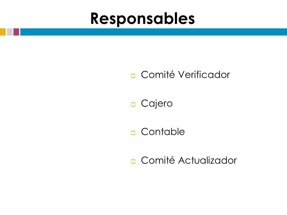  Comité Verificador  Cajero  Contable  Comité Actualizador Responsables
