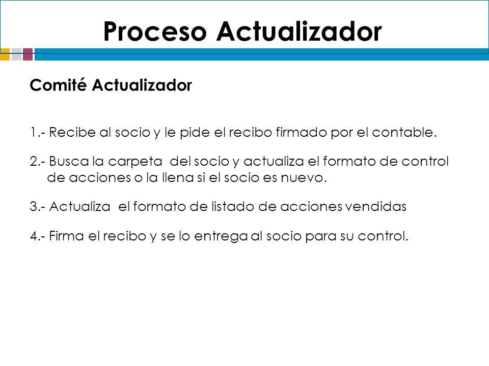 Comité Actualizador 1.- Recibe al socio y le pide el recibo firmado por el contable. 2.- Busca la carpeta del socio y actualiza el formato de control