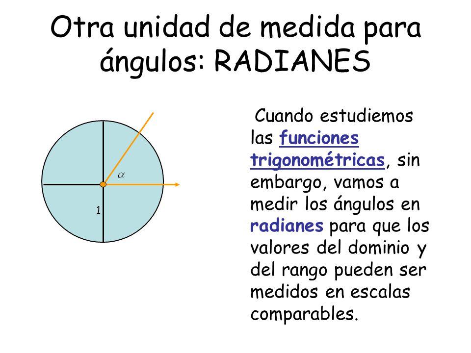 Otra unidad de medida para ángulos: RADIANES 1 Cuando estudiemos las funciones trigonométricas, sin embargo, vamos a medir los ángulos en radianes para que los valores del dominio y del rango pueden ser medidos en escalas comparables.