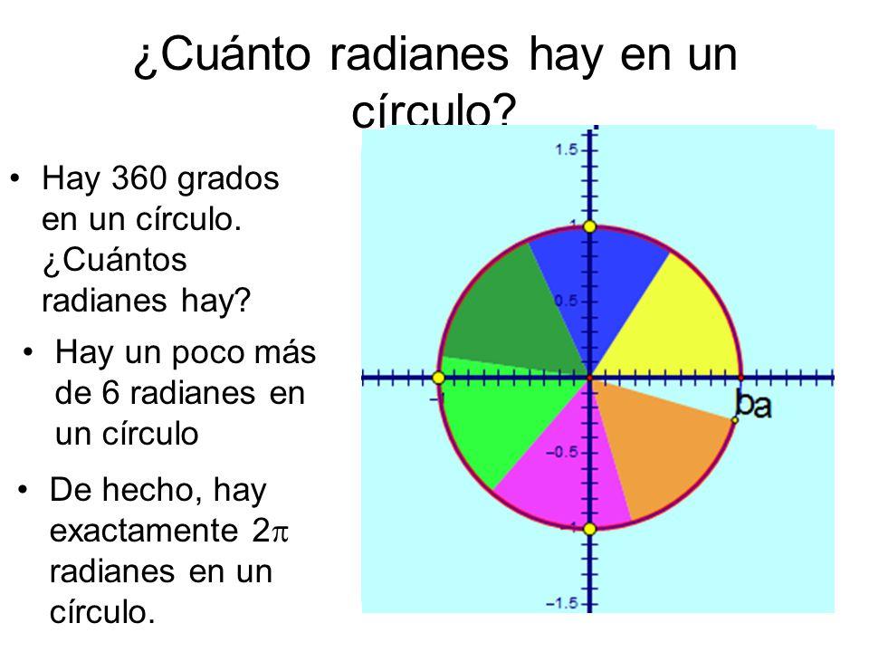 ¿Cuánto radianes hay en un círculo? Hay 360 grados en un círculo. ¿Cuántos radianes hay? Hay un poco más de 6 radianes en un círculo De hecho, hay exa