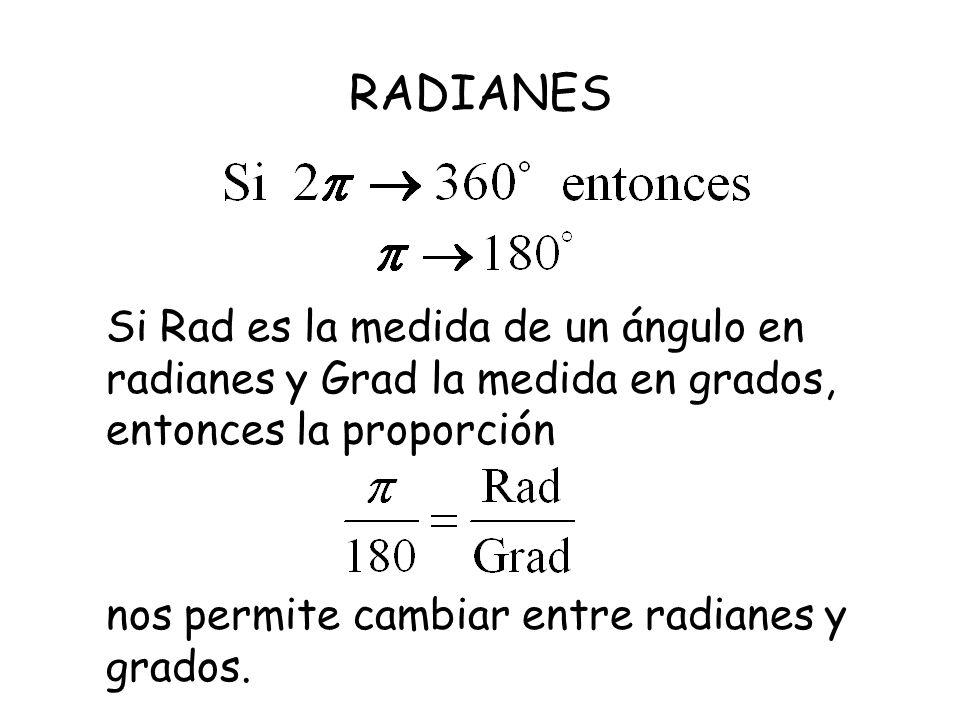 RADIANES Si Rad es la medida de un ángulo en radianes y Grad la medida en grados, entonces la proporción nos permite cambiar entre radianes y grados.