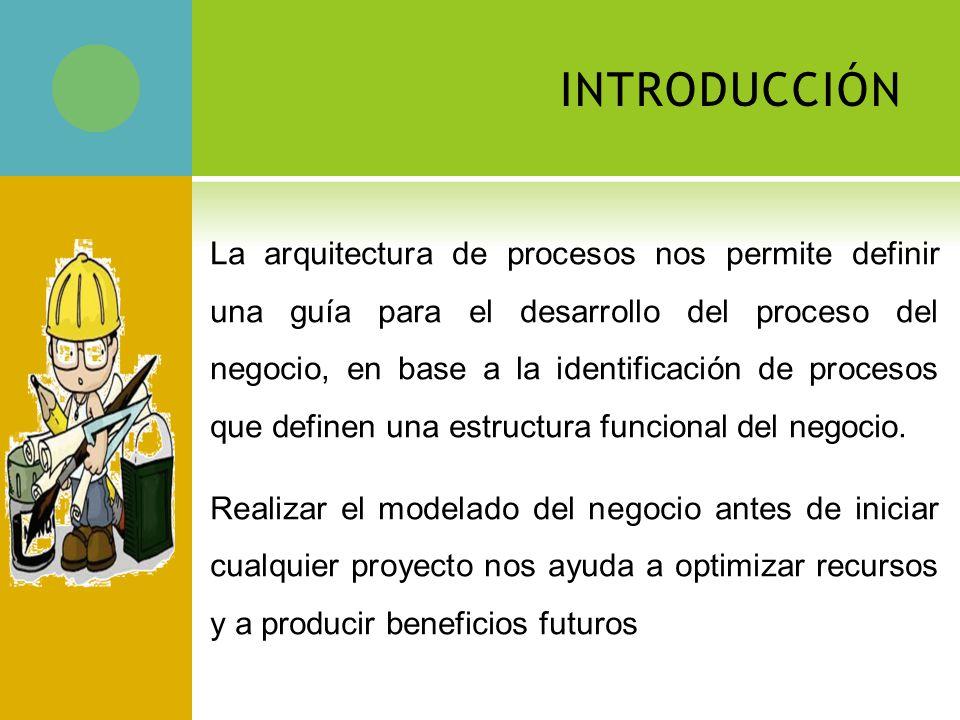 INTRODUCCIÓN La arquitectura de procesos nos permite definir una guía para el desarrollo del proceso del negocio, en base a la identificación de procesos que definen una estructura funcional del negocio.