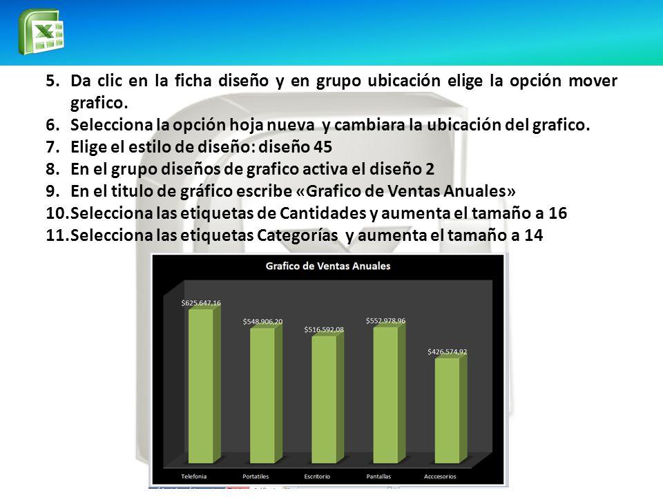 5.Da clic en la ficha diseño y en grupo ubicación elige la opción mover grafico.