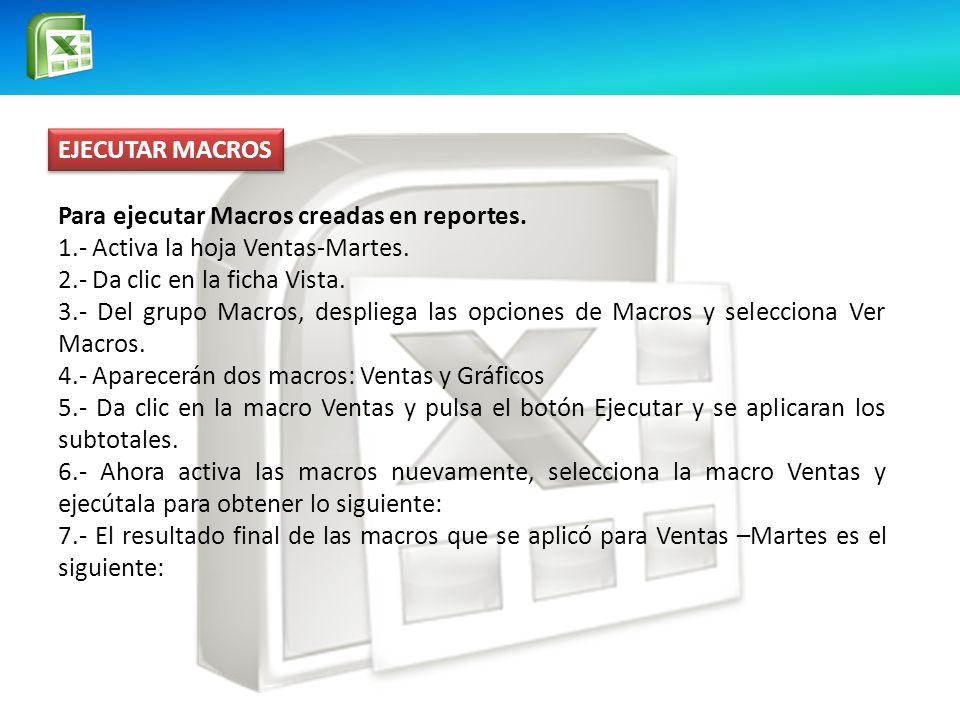 EJECUTAR MACROS Para ejecutar Macros creadas en reportes.