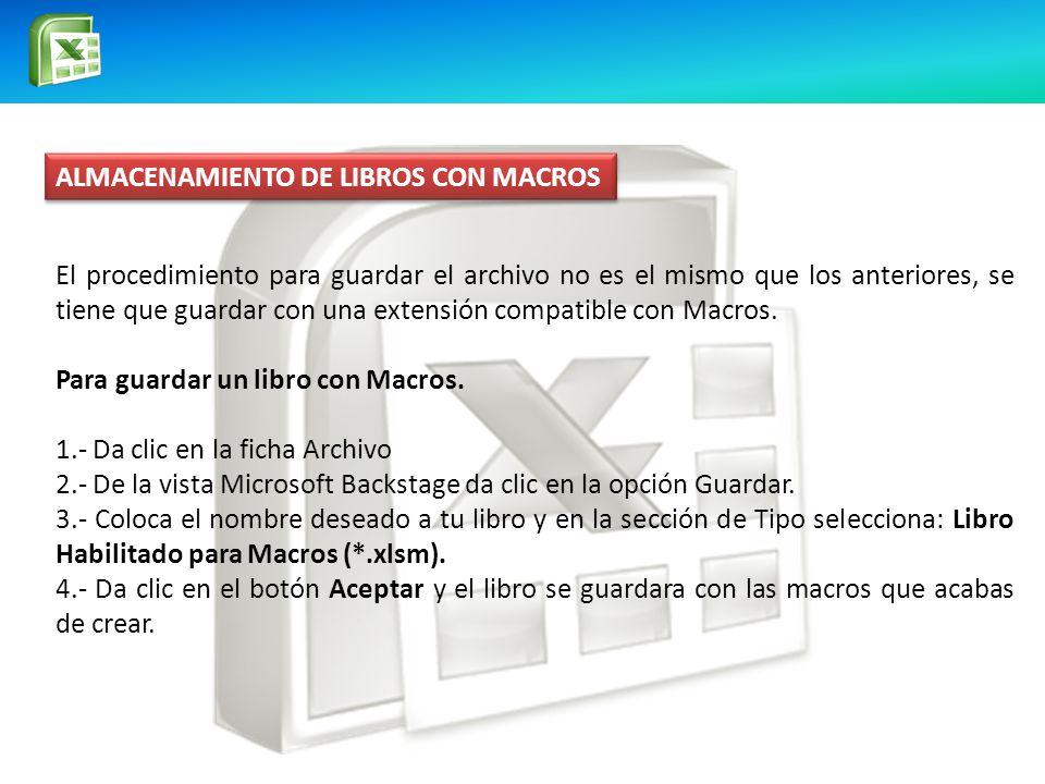 ALMACENAMIENTO DE LIBROS CON MACROS El procedimiento para guardar el archivo no es el mismo que los anteriores, se tiene que guardar con una extensión compatible con Macros.