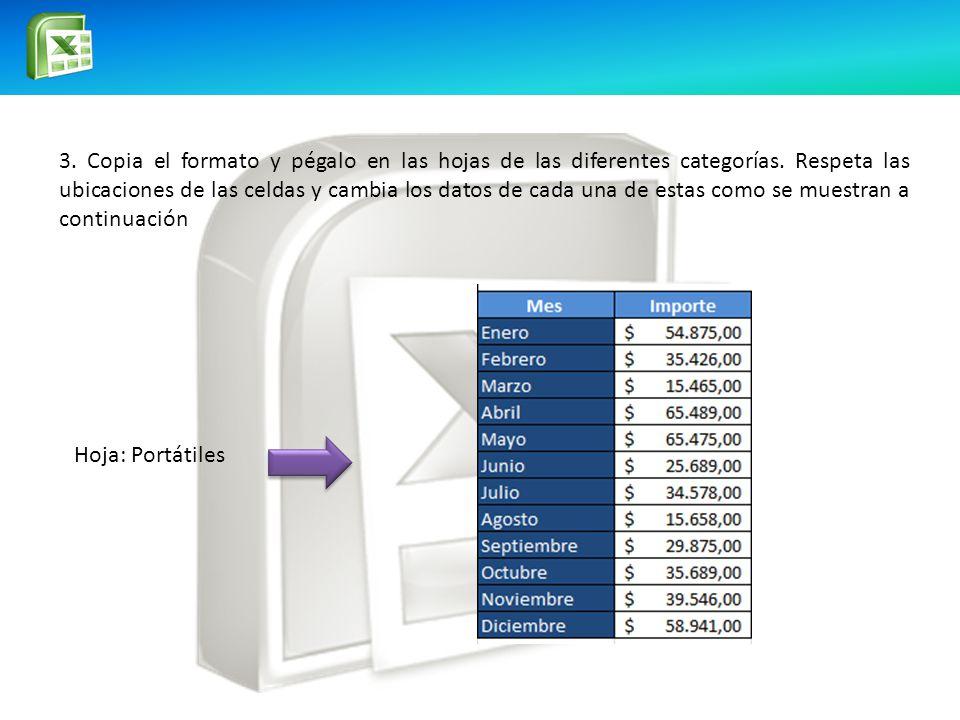 3.Copia el formato y pégalo en las hojas de las diferentes categorías.