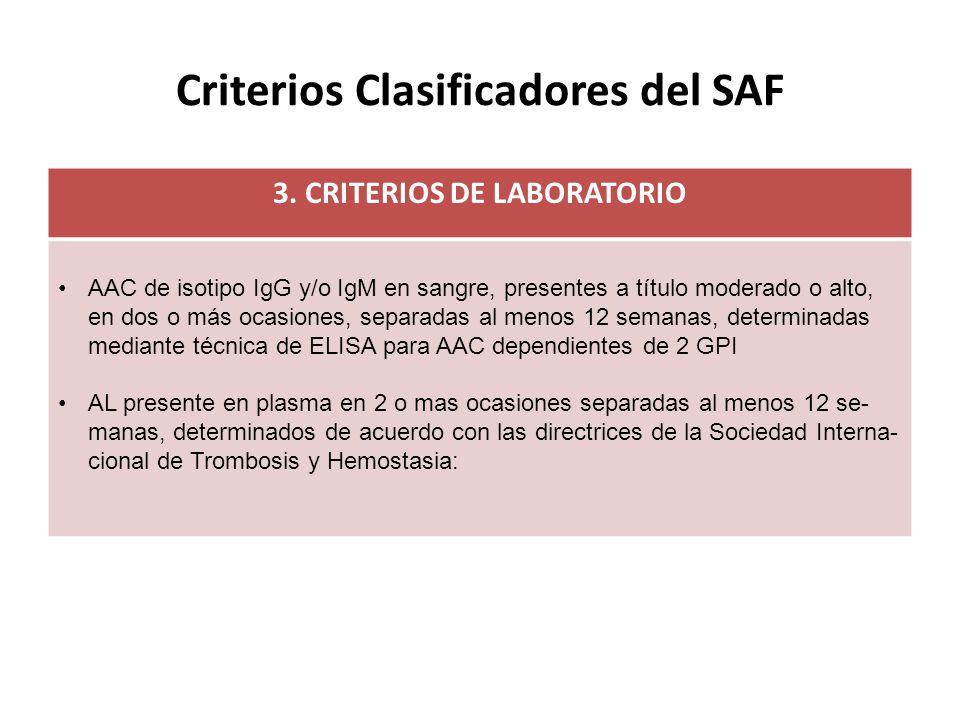 Criterios Clasificadores del SAF 3.