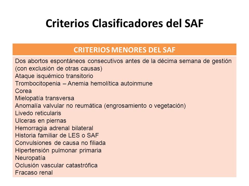Criterios Clasificadores del SAF CRITERIOS MENORES DEL SAF Dos abortos espontáneos consecutivos antes de la décima semana de gestión (con exclusión de otras causas) Ataque isquémico transitorio Trombocitopenia – Anemia hemolítica autoinmune Corea Mielopatía transversa Anomalía valvular no reumática (engrosamiento o vegetación) Livedo reticularis Ulceras en piernas Hemorragia adrenal bilateral Historia familiar de LES o SAF Convulsiones de causa no filiada Hipertensión pulmonar primaria Neuropatía Oclusión vascular catastrófica Fracaso renal