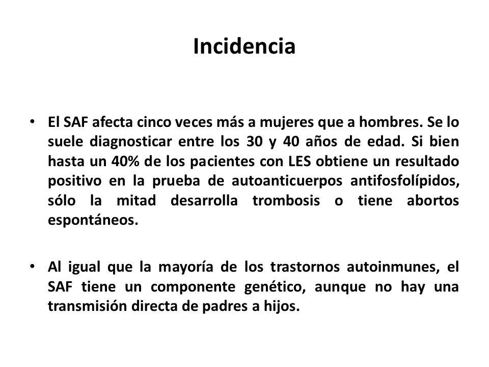 Incidencia El SAF afecta cinco veces más a mujeres que a hombres.
