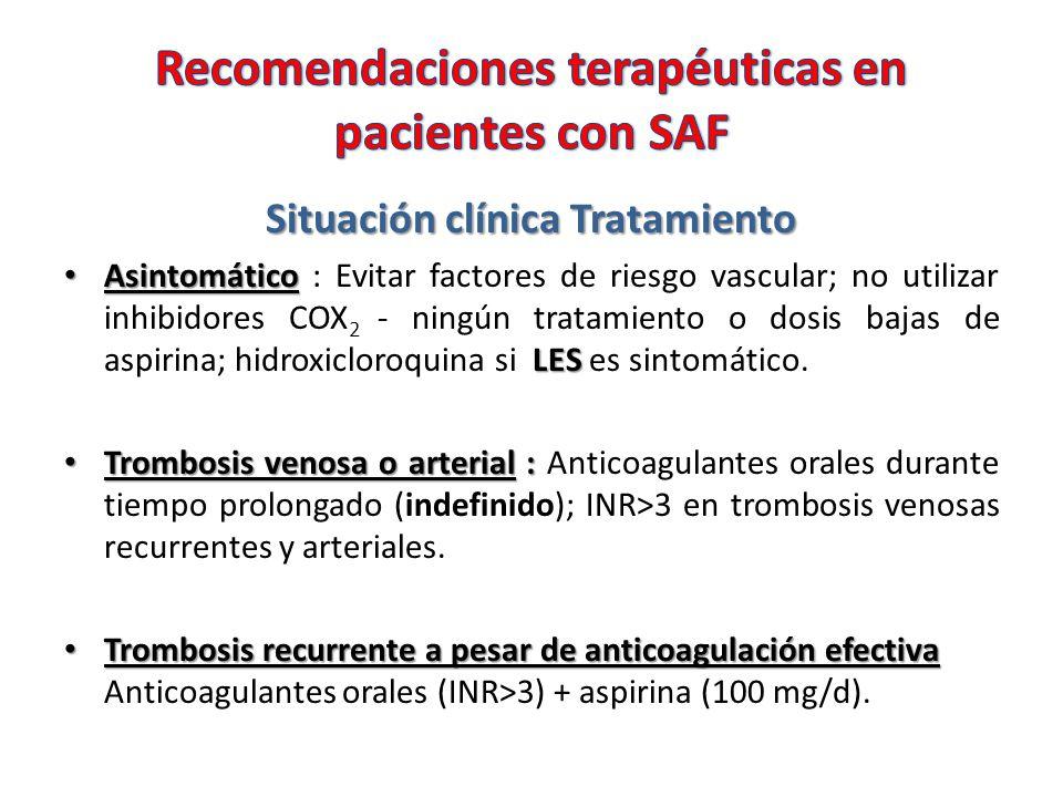 Situación clínica Tratamiento Asintomático LES Asintomático : Evitar factores de riesgo vascular; no utilizar inhibidores COX 2 - ningún tratamiento o dosis bajas de aspirina; hidroxicloroquina si LES es sintomático.