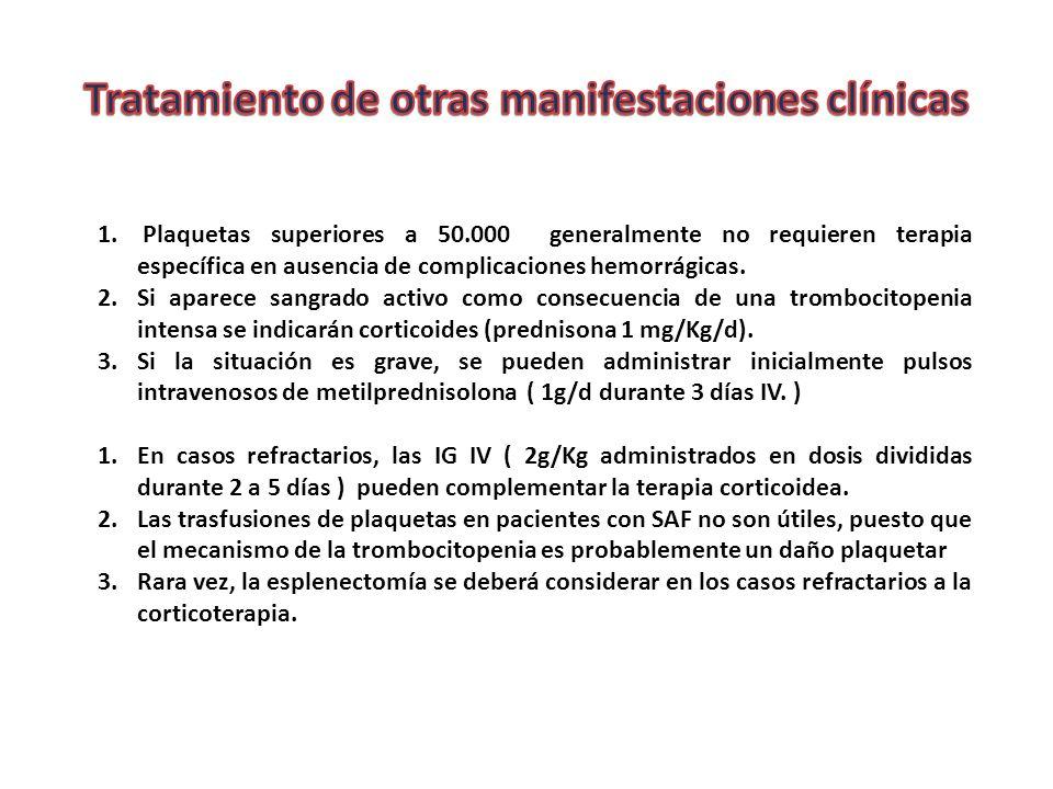 1. Plaquetas superiores a 50.000 generalmente no requieren terapia específica en ausencia de complicaciones hemorrágicas. 2.Si aparece sangrado activo