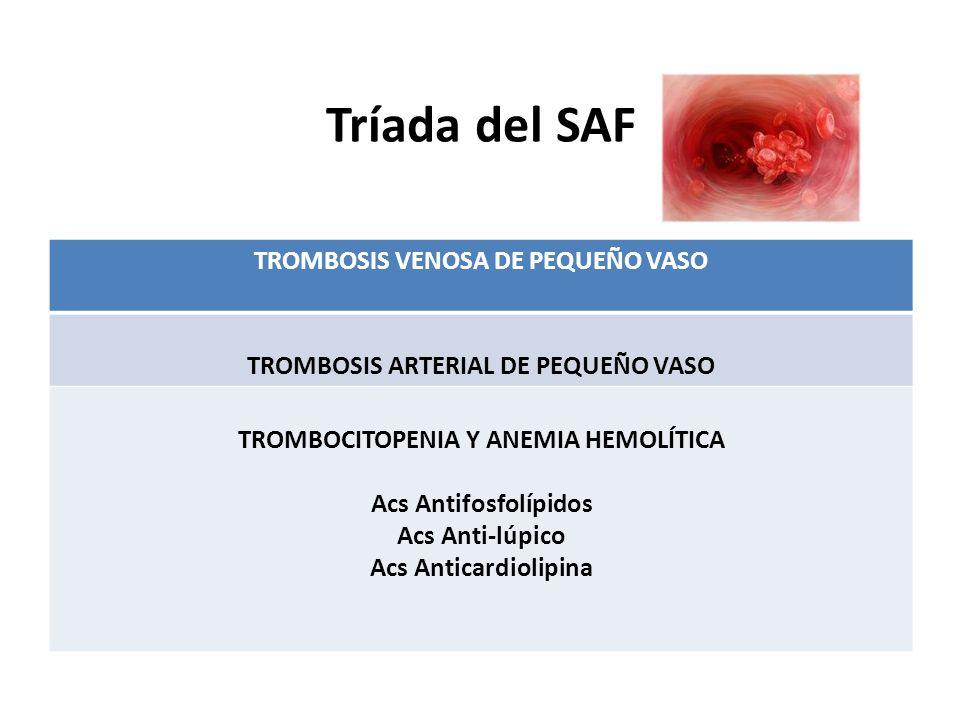 Tríada del SAF TROMBOSIS VENOSA DE PEQUEÑO VASO TROMBOSIS ARTERIAL DE PEQUEÑO VASO TROMBOCITOPENIA Y ANEMIA HEMOLÍTICA Acs Antifosfolípidos Acs Anti-lúpico Acs Anticardiolipina