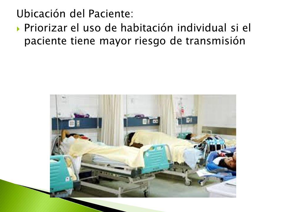 Ubicación del Paciente:  Priorizar el uso de habitación individual si el paciente tiene mayor riesgo de transmisión